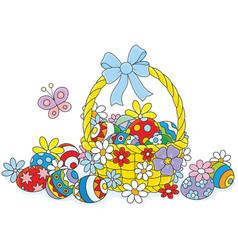 easter wicker basket vector image