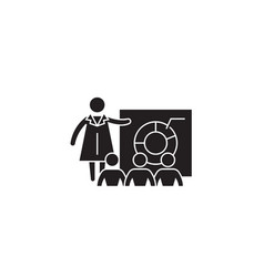 Economics lecture black concept icon vector