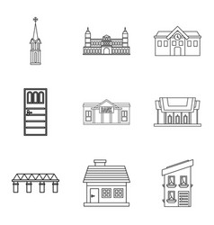 Edifice icons set outline style vector