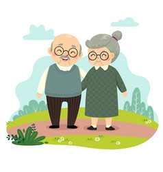 elderly couple standing and holding hands vector image