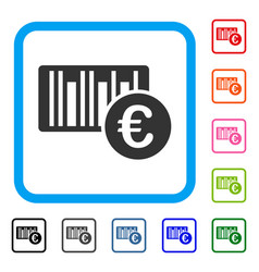 euro bar code price framed icon vector image