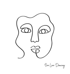 Fashion one line drawing women face vector