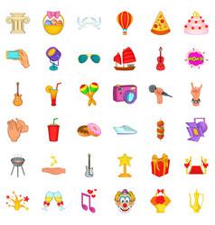 Festive music icons set cartoon style vector