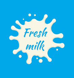 fresh milk label milk splash and blot vector image