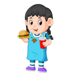 Girl eating fast food vector