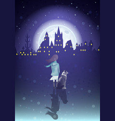 Girl with a dog under moonlight vector
