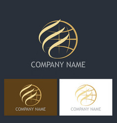 Gold globe abstract company logo vector