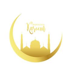 Golden moon and mosque design for ramadan kareem vector