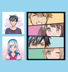 Group faces young people anime style characters vector