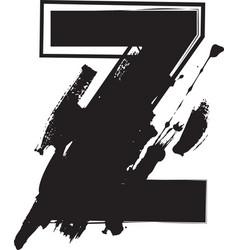 grunge font letter z vector image