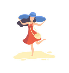happy brinette girl in red dress and blue hat vector image