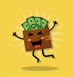 happy wallet with money vector image