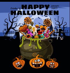 hello halloween cauldron full candies and vector image