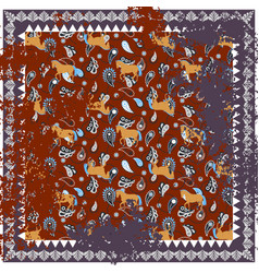 Horse and paisley rough rug square design vector