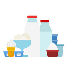 ice cream milk bottles and whipping cream flat vector image