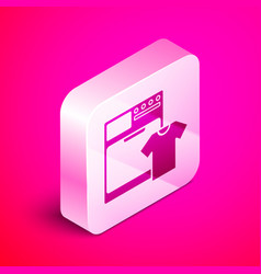 Isometric washer and t-shirt icon isolated on pink vector