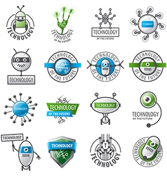 large set logos robots and new technologies vector image