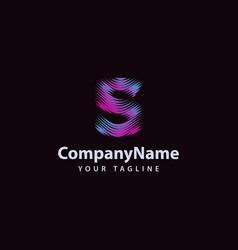 letter s modern wave line logo design template vector image