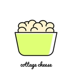 Line art Cottage cheese icon Infographic element vector