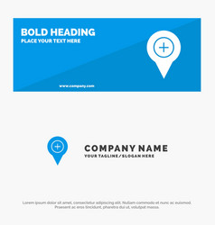 Location map navigation pin plus solid icon vector