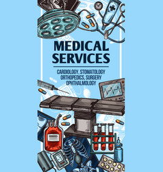 Medical services and equipment sketch vector