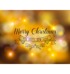 Merry christmas new year label ornament gold bokeh vector