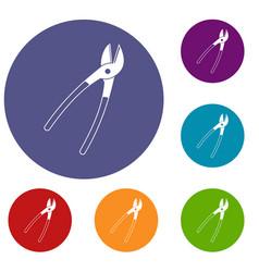Metal shears icons set vector