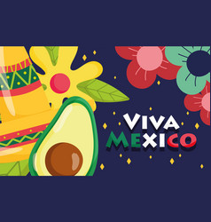 mexican independence day avocado hat flowers vector image