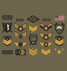 Military badges and army patches typography vector