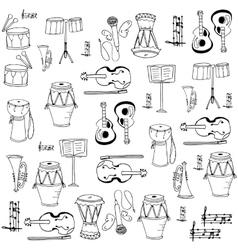Music tool doodles set vector