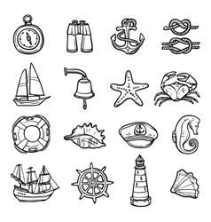 Nautical Black White Icons Set vector image