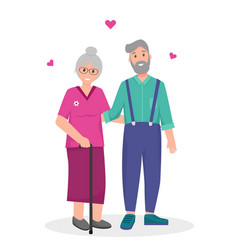 Old woman and man happy together vector