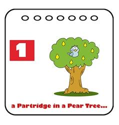 Patridge in a pear tree cartoon vector
