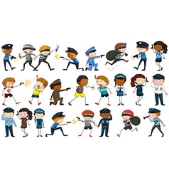Policeman and criminal characters vector