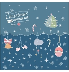 Post card with hand drawn christmas doodle vector image