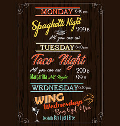 restaurant food menu design with grunge wood vector image