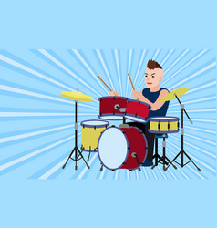 Rock drummer concept banner flat style vector