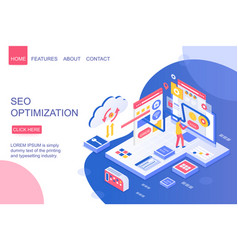 Seo optimization isometric landing page vector
