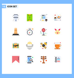 Set 16 flat colors on grid for construction vector