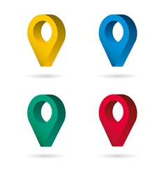 set color maping pin location 3d icons vector image