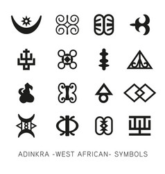 Set of akan and adinkra west african symbols vector