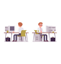 Set of male clerk working at the computer vector