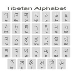 Set of monochrome icons with tibetan alphabet vector