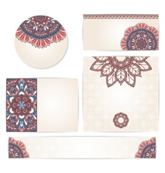 Set of ornamental invitation cards vector image