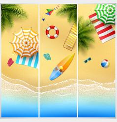 set of three tropical beach vector image