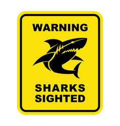 Shark sighted warning sign shark silhouette icon vector