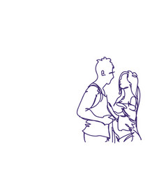 sketch couple embracing doodle man and woman hug vector image