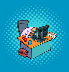 Sleepy tired male businessman works at an office vector