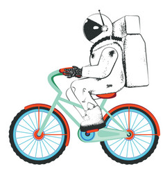 Spaceman riding bicycle vector