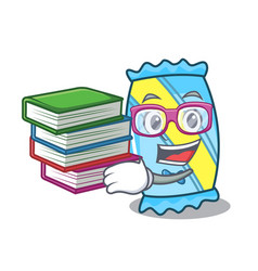 student with book candy mascot cartoon style vector image